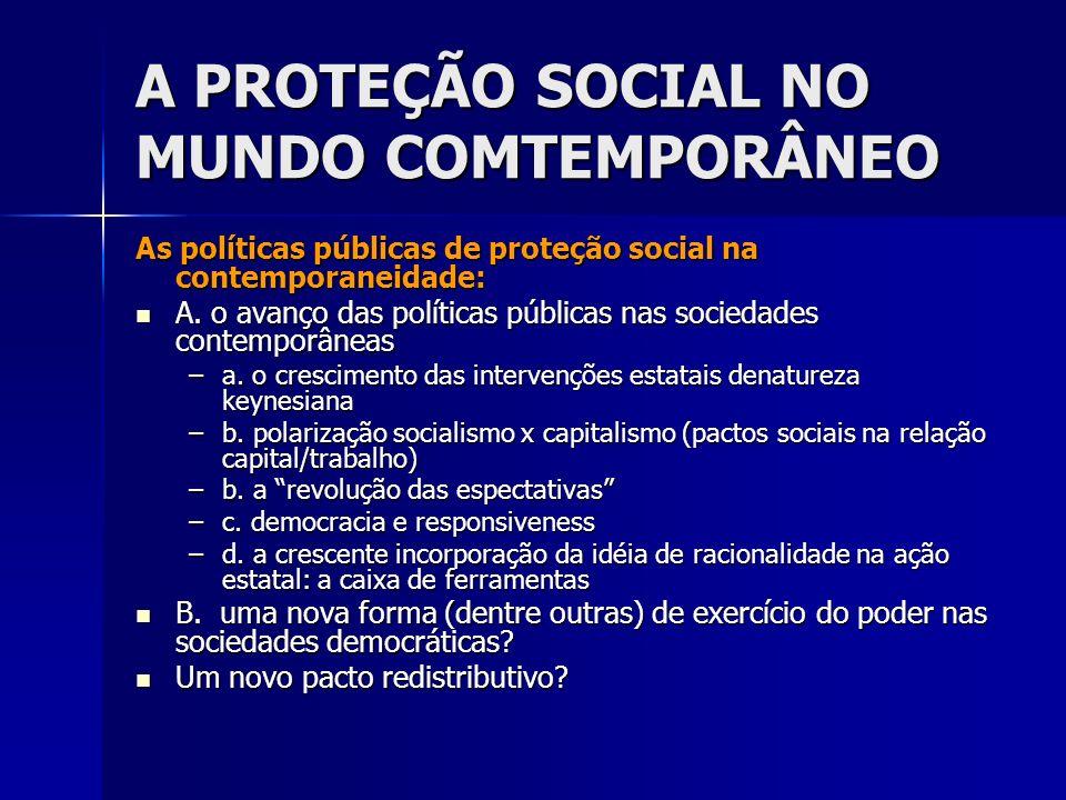 A PROTEÇÃO SOCIAL NO MUNDO COMTEMPORÂNEO As políticas públicas de proteção social na contemporaneidade: A. o avanço das políticas públicas nas socieda