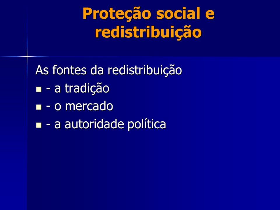 Proteção social e redistribuição As fontes da redistribuição - a tradição - a tradição - o mercado - o mercado - a autoridade política - a autoridade