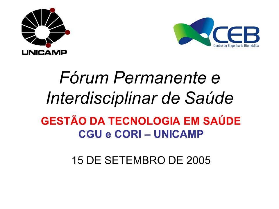 Fórum Permanente e Interdisciplinar de Saúde GESTÃO DA TECNOLOGIA EM SAÚDE CGU e CORI – UNICAMP 15 DE SETEMBRO DE 2005
