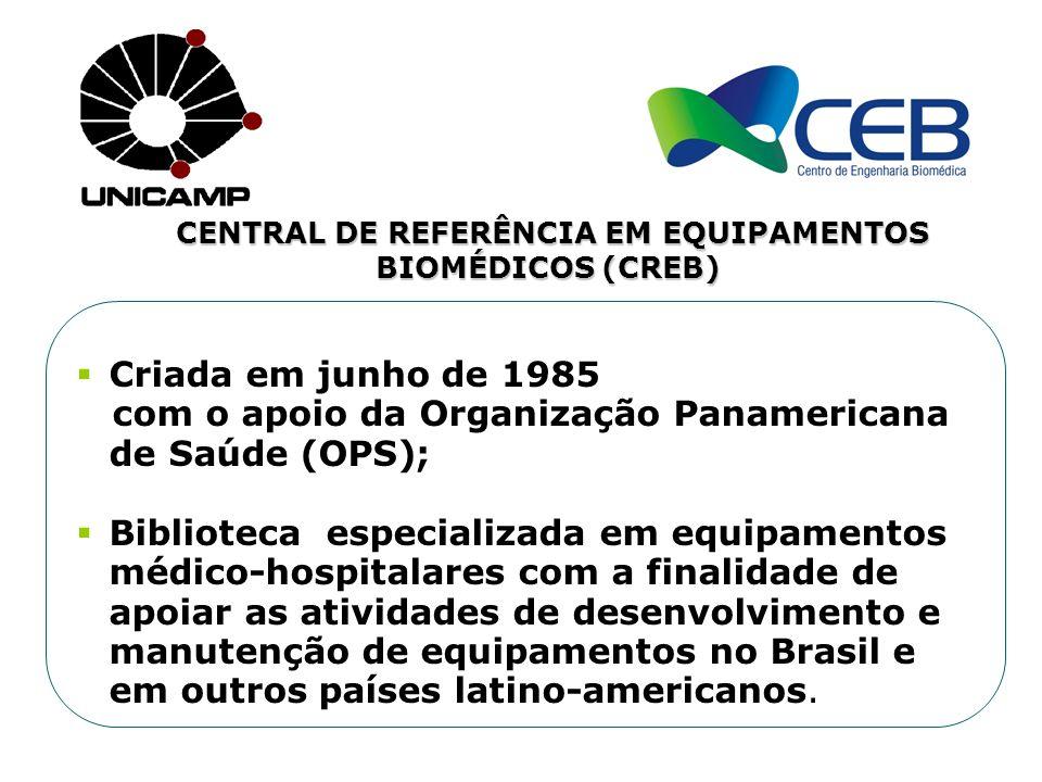CENTRAL DE REFERÊNCIA EM EQUIPAMENTOS BIOMÉDICOS (CREB) Criada em junho de 1985 com o apoio da Organização Panamericana de Saúde (OPS); Biblioteca esp