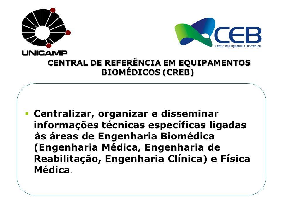 CENTRAL DE REFERÊNCIA EM EQUIPAMENTOS BIOMÉDICOS (CREB) Centralizar, organizar e disseminar informações técnicas específicas ligadas às áreas de Engen