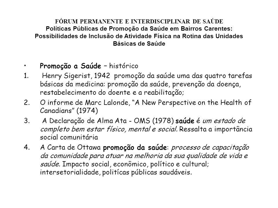 FÓRUM PERMANENTE E INTERDISCIPLINAR DE SAÚDE Políticas Públicas de Promoção da Saúde em Bairros Carentes: Possibilidades de Inclusão de Atividade Físi