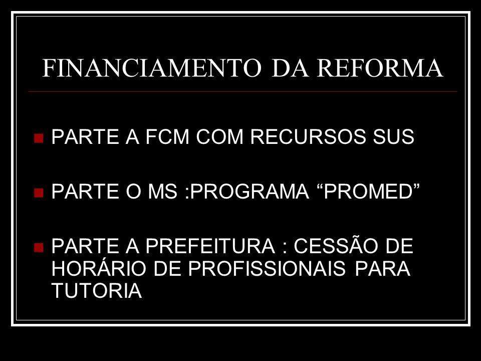 FINANCIAMENTO DA REFORMA PARTE A FCM COM RECURSOS SUS PARTE O MS :PROGRAMA PROMED PARTE A PREFEITURA : CESSÃO DE HORÁRIO DE PROFISSIONAIS PARA TUTORIA