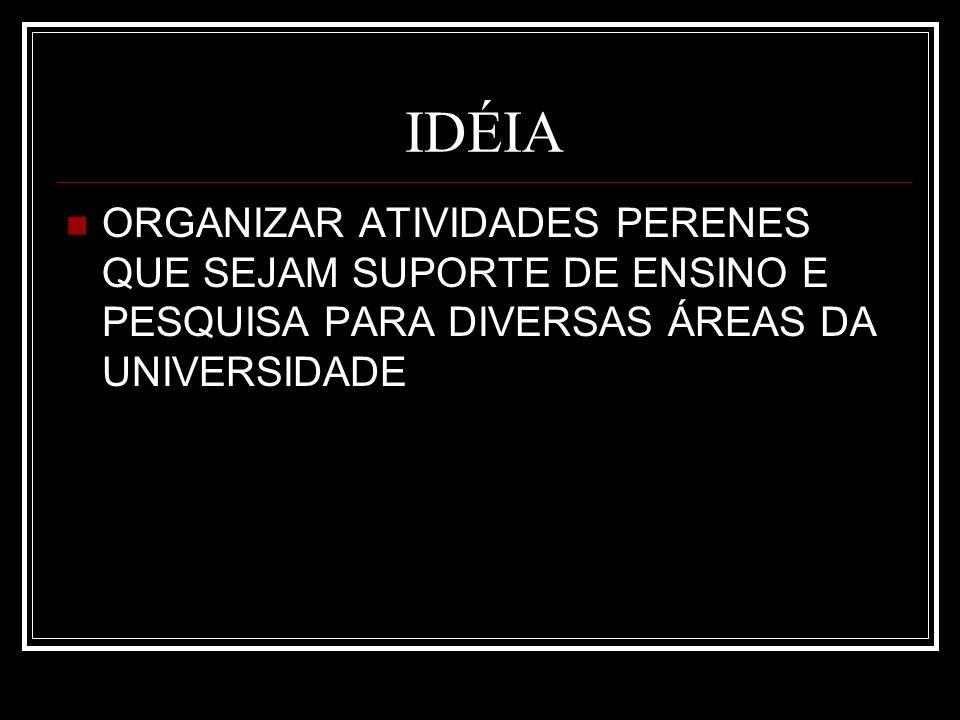 IDÉIA ORGANIZAR ATIVIDADES PERENES QUE SEJAM SUPORTE DE ENSINO E PESQUISA PARA DIVERSAS ÁREAS DA UNIVERSIDADE