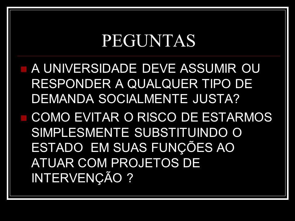 PEGUNTAS A UNIVERSIDADE DEVE ASSUMIR OU RESPONDER A QUALQUER TIPO DE DEMANDA SOCIALMENTE JUSTA.