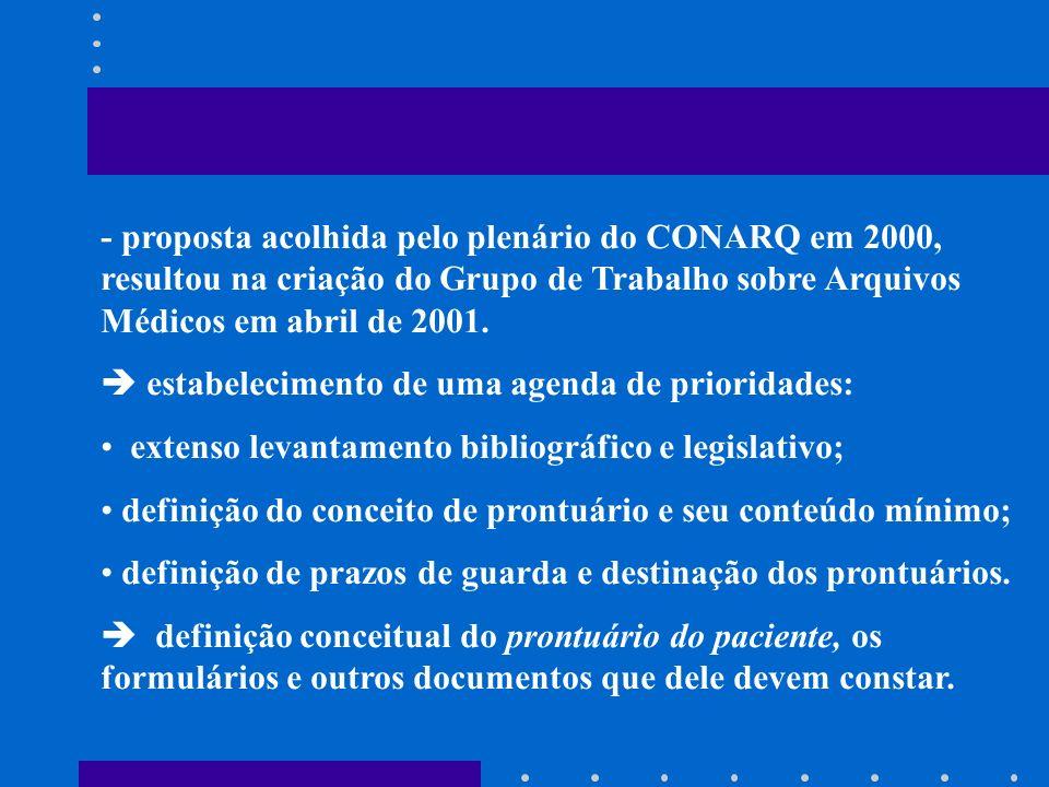 - proposta acolhida pelo plenário do CONARQ em 2000, resultou na criação do Grupo de Trabalho sobre Arquivos Médicos em abril de 2001. estabelecimento