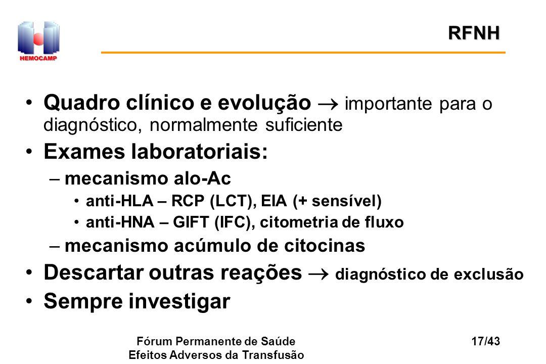 Fórum Permanente de Saúde Efeitos Adversos da Transfusão 17/43 Quadro clínico e evolução importante para o diagnóstico, normalmente suficiente Exames