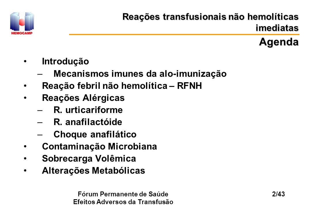 Fórum Permanente de Saúde Efeitos Adversos da Transfusão 2/43 Reações transfusionais não hemolíticas imediatas Introdução –Mecanismos imunes da alo-im