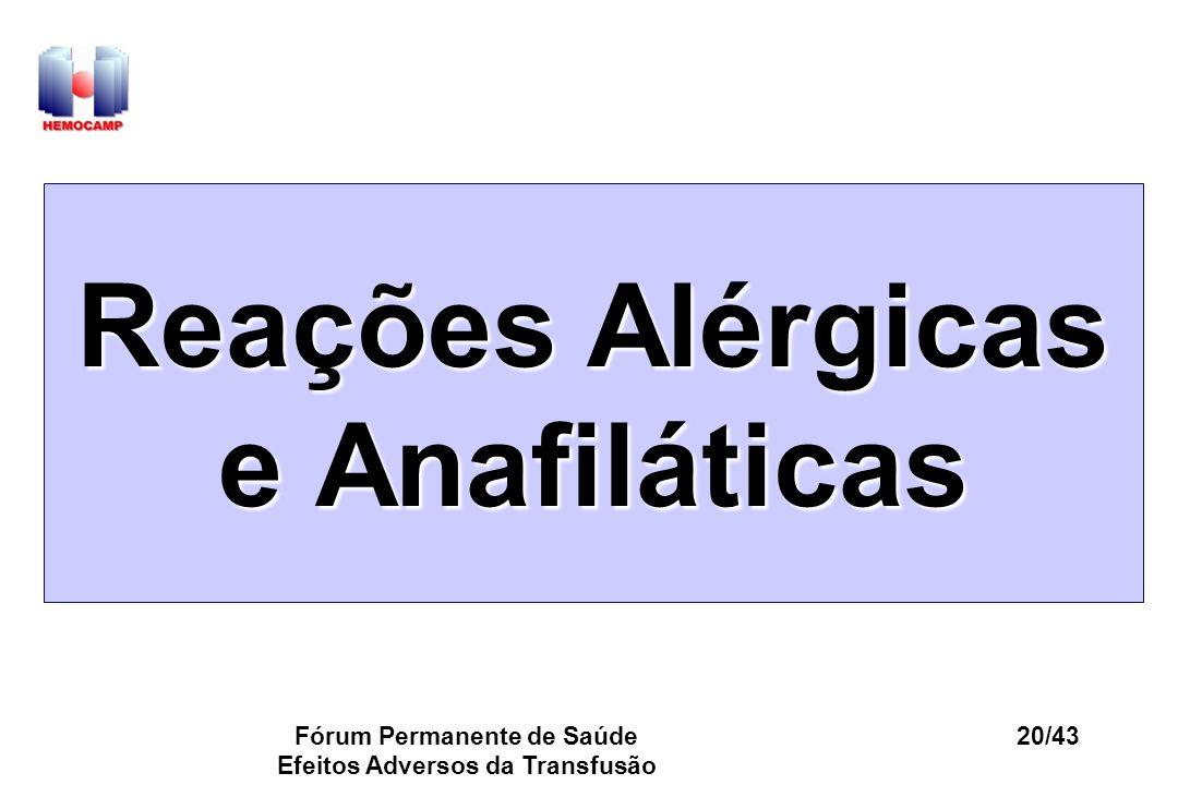 Fórum Permanente de Saúde Efeitos Adversos da Transfusão 20/43 Reações Alérgicas e Anafiláticas