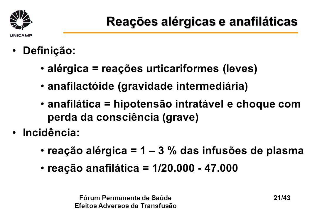 Fórum Permanente de Saúde Efeitos Adversos da Transfusão 21/43 Reações alérgicas e anafiláticas Definição: alérgica = reações urticariformes (leves) a