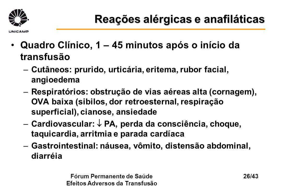 Fórum Permanente de Saúde Efeitos Adversos da Transfusão 26/43 Reações alérgicas e anafiláticas Quadro Clínico, 1 – 45 minutos após o início da transf