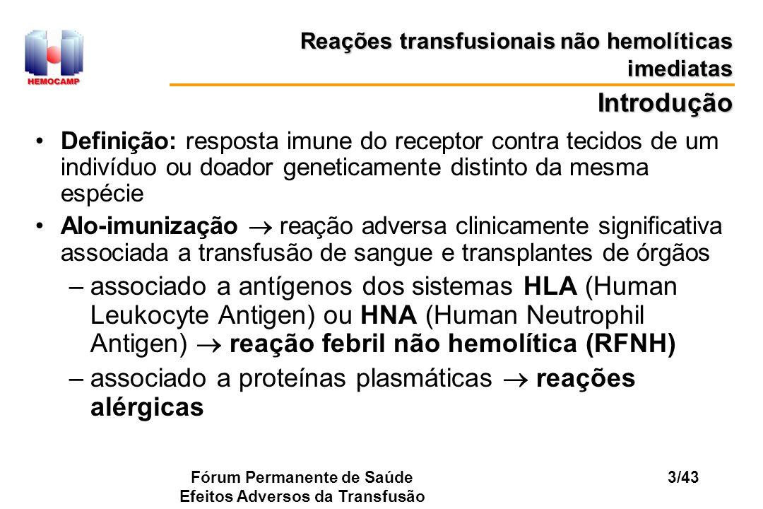 Fórum Permanente de Saúde Efeitos Adversos da Transfusão 3/43 Introdução Definição: resposta imune do receptor contra tecidos de um indivíduo ou doado