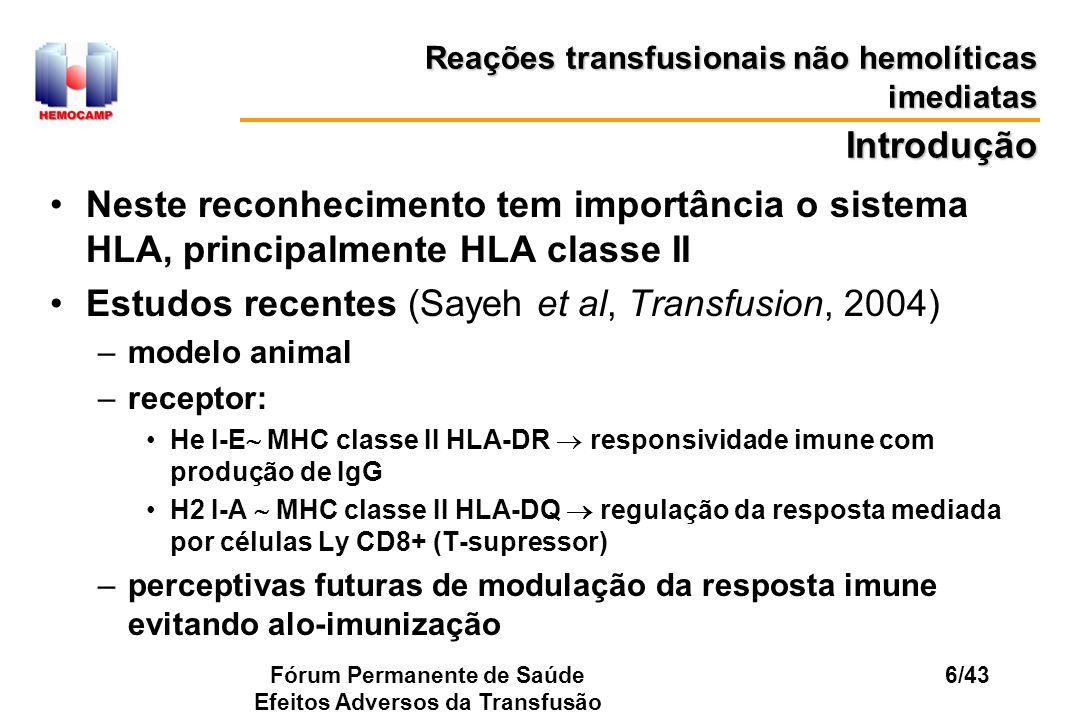 Fórum Permanente de Saúde Efeitos Adversos da Transfusão 6/43 Neste reconhecimento tem importância o sistema HLA, principalmente HLA classe II Estudos