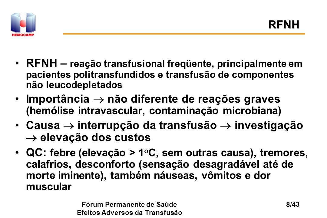 Fórum Permanente de Saúde Efeitos Adversos da Transfusão 8/43 RFNH – reação transfusional freqüente, principalmente em pacientes politransfundidos e t