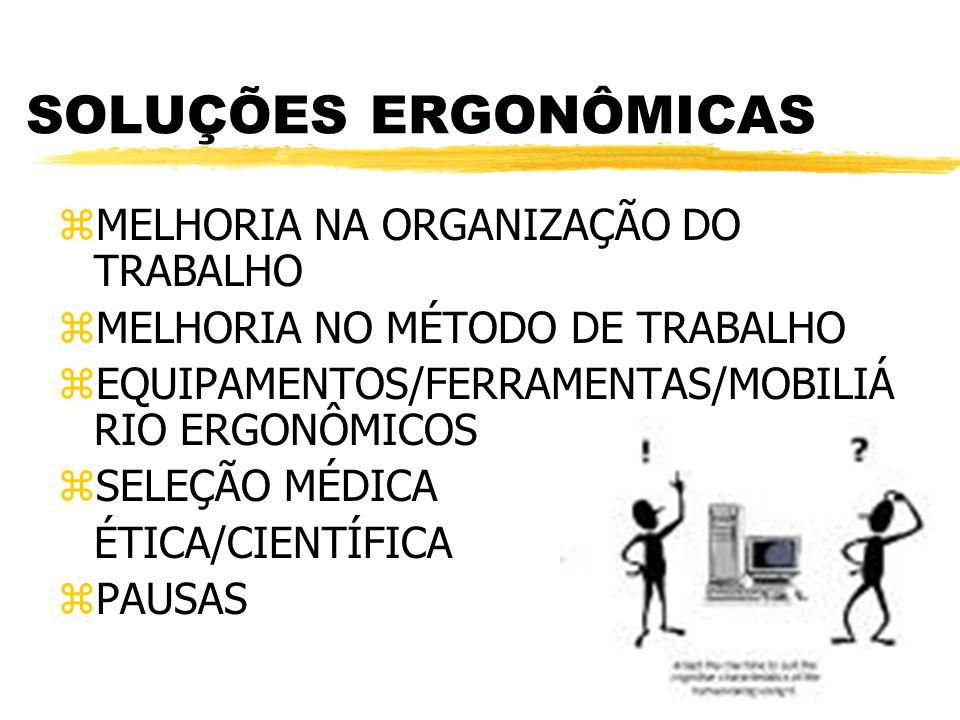 SOLUÇÕES ERGONÔMICAS zMELHORIA NA ORGANIZAÇÃO DO TRABALHO zMELHORIA NO MÉTODO DE TRABALHO zEQUIPAMENTOS/FERRAMENTAS/MOBILIÁ RIO ERGONÔMICOS zSELEÇÃO M
