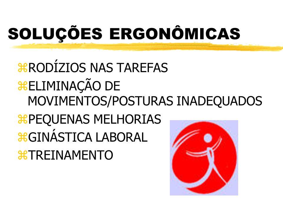 SOLUÇÕES ERGONÔMICAS zRODÍZIOS NAS TAREFAS zELIMINAÇÃO DE MOVIMENTOS/POSTURAS INADEQUADOS zPEQUENAS MELHORIAS zGINÁSTICA LABORAL zTREINAMENTO