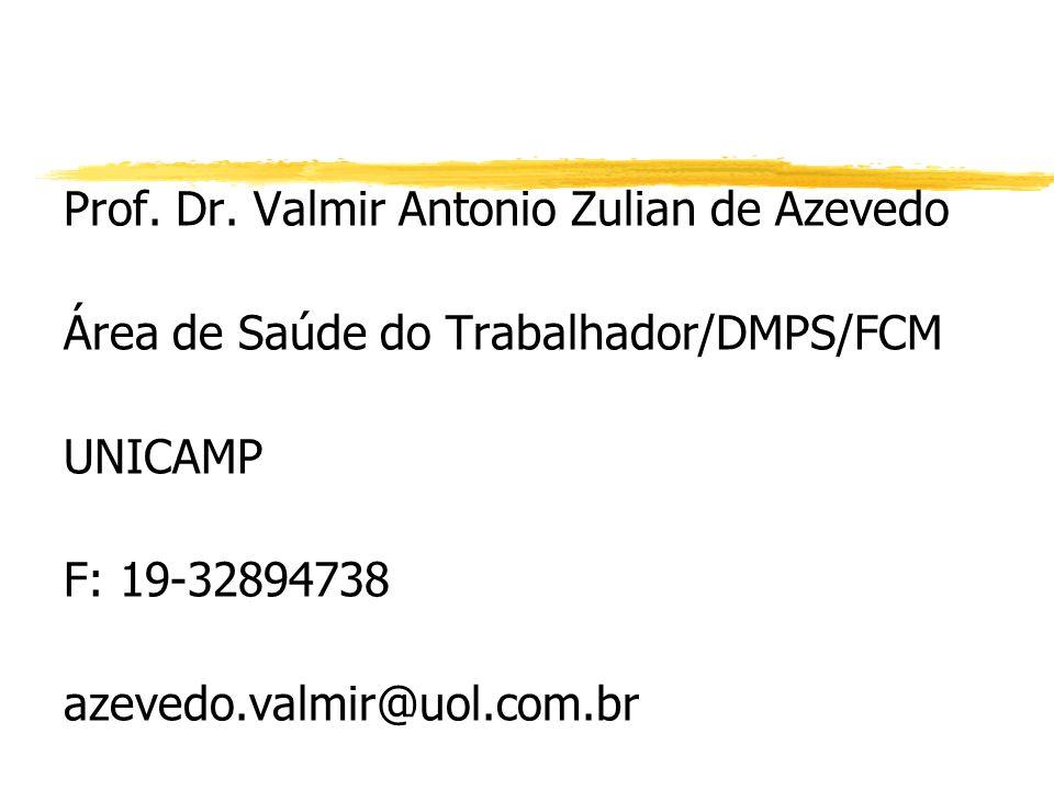 Prof. Dr. Valmir Antonio Zulian de Azevedo Área de Saúde do Trabalhador/DMPS/FCM UNICAMP F: 19-32894738 azevedo.valmir@uol.com.br