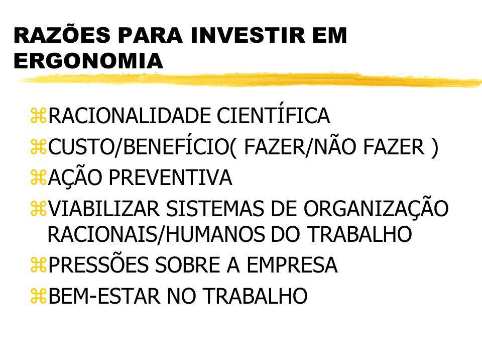 MÉTODOS DE ANÁLISE ERGONÔMICA zDINAMOMETRIA/MODELO BIOMECÂNICO yQUANTIFICA-SE A FORÇA ATRAVÉS DE DINAMOMETRIA yALIMENTA-SE UM SOFTWARE COM OS VALORES E COM DADOS SOBRE POSTURA yOBTÉM-SE VALORES ESTIMATIVOS DE RISCO DE LESÃO OSTEO-MUSCULAR POR SEGMENTOS