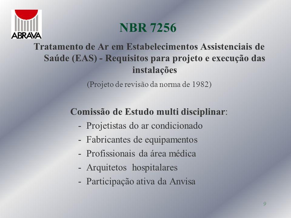 10 NBR 7256 Compatibilizada com as diretrizes gerais da Anvisa em particular Resolução Anvisa RDC 50 de 21/01/2002 Regulamento Técnico para planejamento e avaliação de projetos físicos de EAS - Listagem e caracterização dos ambientes - Exigências básicas de tratamento de ar