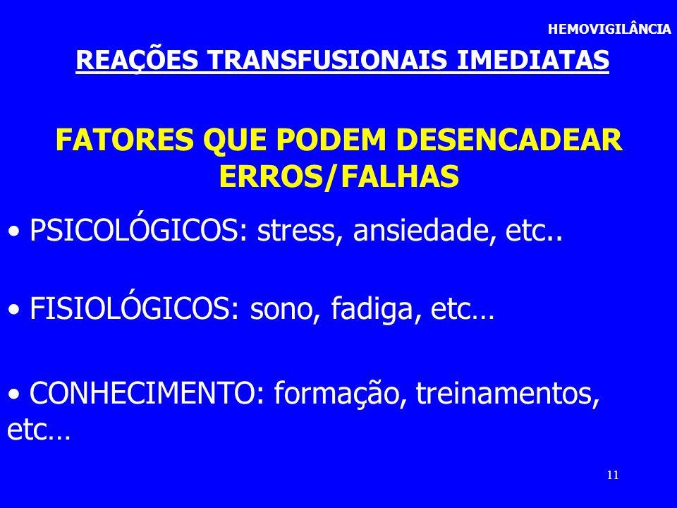 11 FATORES QUE PODEM DESENCADEAR ERROS/FALHAS PSICOLÓGICOS: stress, ansiedade, etc.. FISIOLÓGICOS: sono, fadiga, etc… CONHECIMENTO: formação, treiname