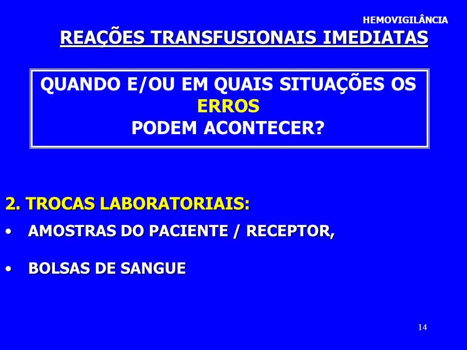 14 REAÇÕES TRANSFUSIONAIS IMEDIATAS HEMOVIGILÂNCIA QUANDO E/OU EM QUAIS SITUAÇÕES OS ERROS PODEM ACONTECER? 2. TROCAS LABORATORIAIS: AMOSTRAS DO PACIE