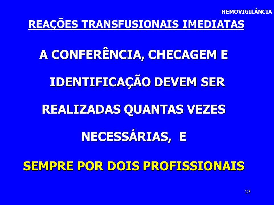 25 HEMOVIGILÂNCIA REAÇÕES TRANSFUSIONAIS IMEDIATAS A CONFERÊNCIA, CHECAGEM E IDENTIFICAÇÃO DEVEM SER IDENTIFICAÇÃO DEVEM SER REALIZADAS QUANTAS VEZES
