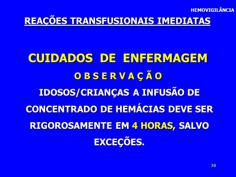30 CUIDADOS DE ENFERMAGEM O B S E R V A Ç Ã O IDOSOS/CRIANÇAS A INFUSÃO DE IDOSOS/CRIANÇAS A INFUSÃO DE CONCENTRADO DE HEMÁCIAS DEVE SER CONCENTRADO D