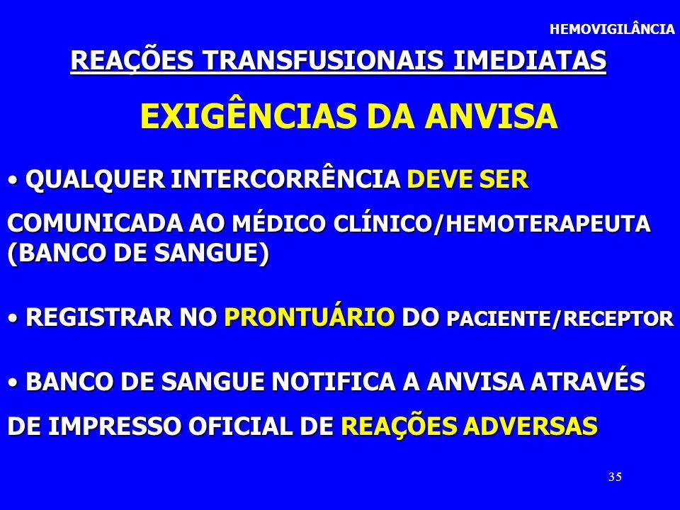 35 HEMOVIGILÂNCIA REAÇÕES TRANSFUSIONAIS IMEDIATAS EXIGÊNCIAS DA ANVISA QUALQUER INTERCORRÊNCIA DEVE SER QUALQUER INTERCORRÊNCIA DEVE SER COMUNICADA A