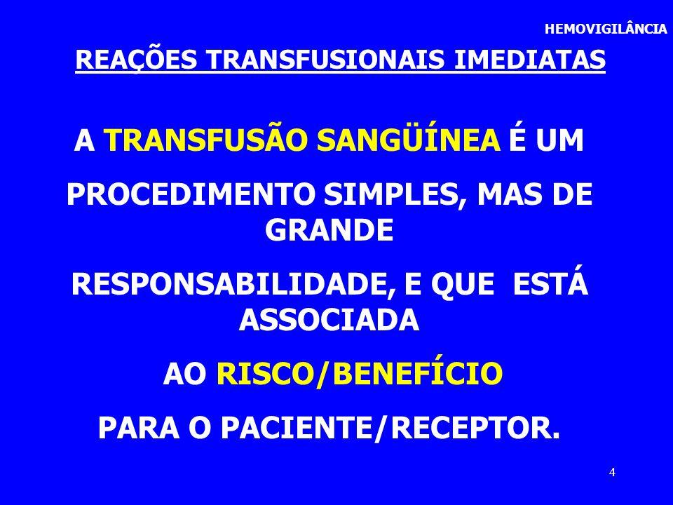 4 HEMOVIGILÂNCIA REAÇÕES TRANSFUSIONAIS IMEDIATAS A TRANSFUSÃO SANGÜÍNEA É UM PROCEDIMENTO SIMPLES, MAS DE GRANDE RESPONSABILIDADE, E QUE ESTÁ ASSOCIA