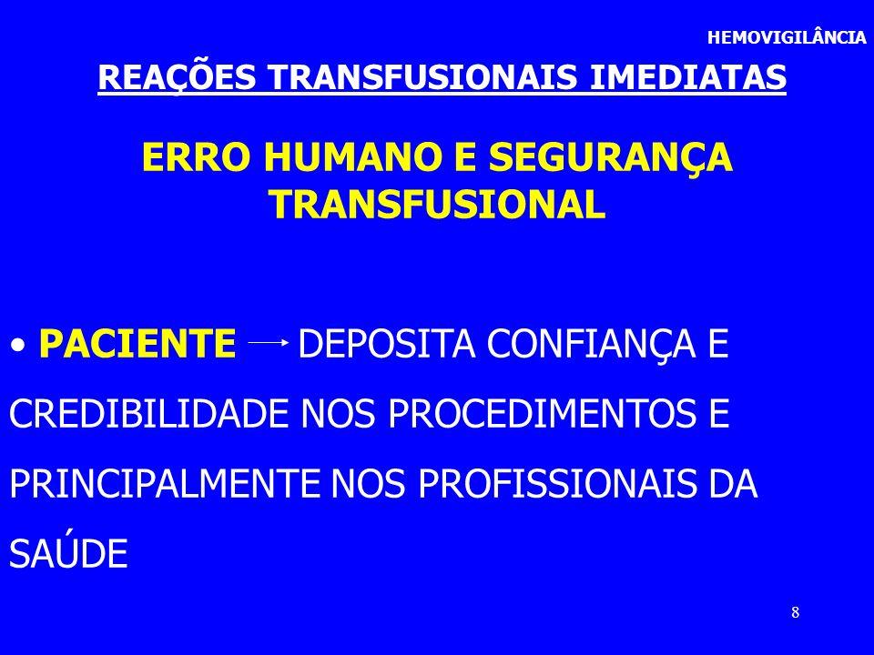 19 REAÇÕES TRANSFUSIONAIS IMEDIATAS HEMOVIGILÂNCIA OBSERVAÇÃO OS ERROS E FALHAS SÃO SEMPRE INDICADORES DE QUALIDADE DO SETOR E DA ASSISTÊNCIA PRESTADA AO PACIENTE/RECEPTOR
