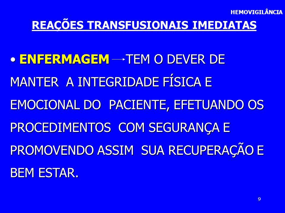 20 HEMOVIGILÂNCIA REAÇÕES TRANSFUSIONAIS IMEDIATAS