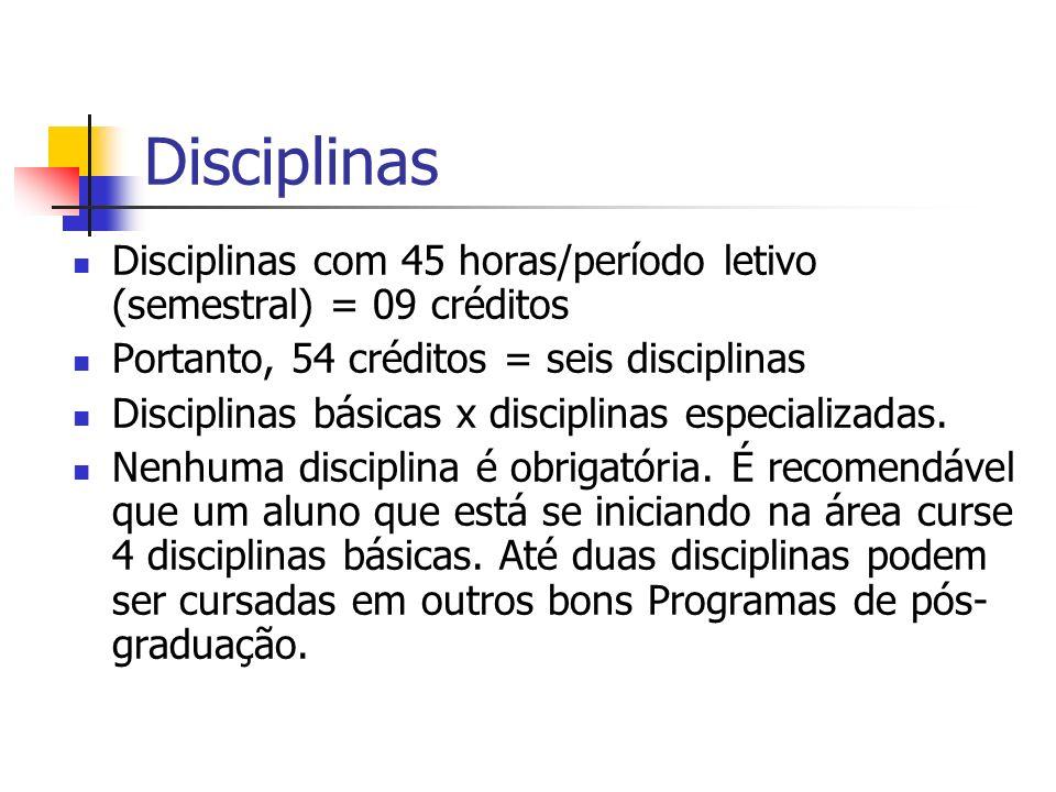 Disciplinas Disciplinas com 45 horas/período letivo (semestral) = 09 créditos Portanto, 54 créditos = seis disciplinas Disciplinas básicas x disciplin