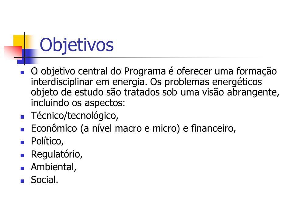 Objetivos O objetivo central do Programa é oferecer uma formação interdisciplinar em energia. Os problemas energéticos objeto de estudo são tratados s