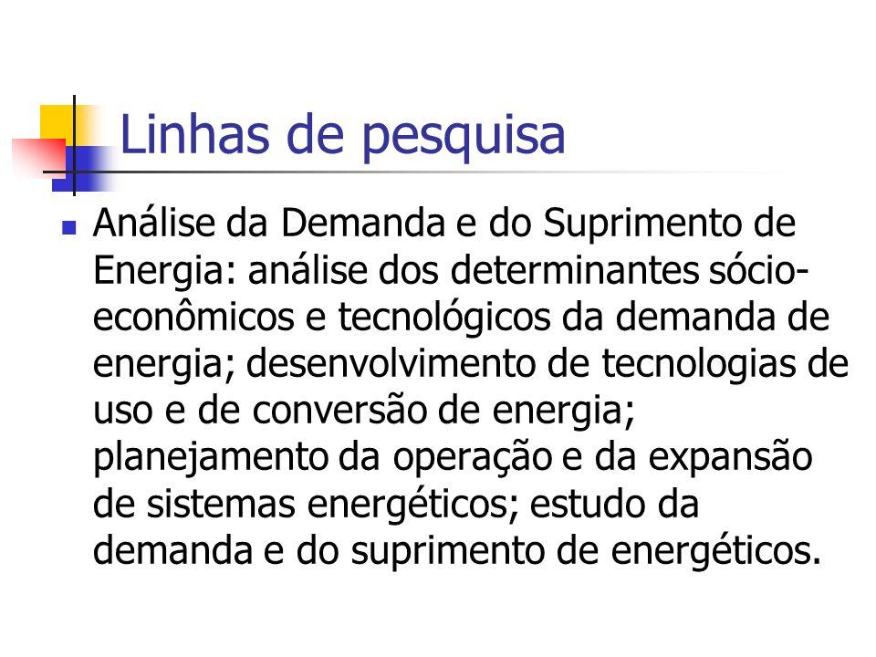 Linhas de pesquisa Análise da Demanda e do Suprimento de Energia: análise dos determinantes sócio- econômicos e tecnológicos da demanda de energia; de