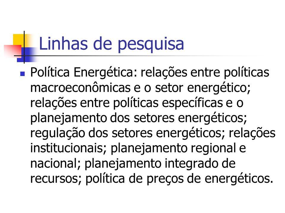 Linhas de pesquisa Política Energética: relações entre políticas macroeconômicas e o setor energético; relações entre políticas específicas e o planej