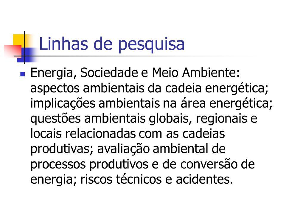 Linhas de pesquisa Energia, Sociedade e Meio Ambiente: aspectos ambientais da cadeia energética; implicações ambientais na área energética; questões a