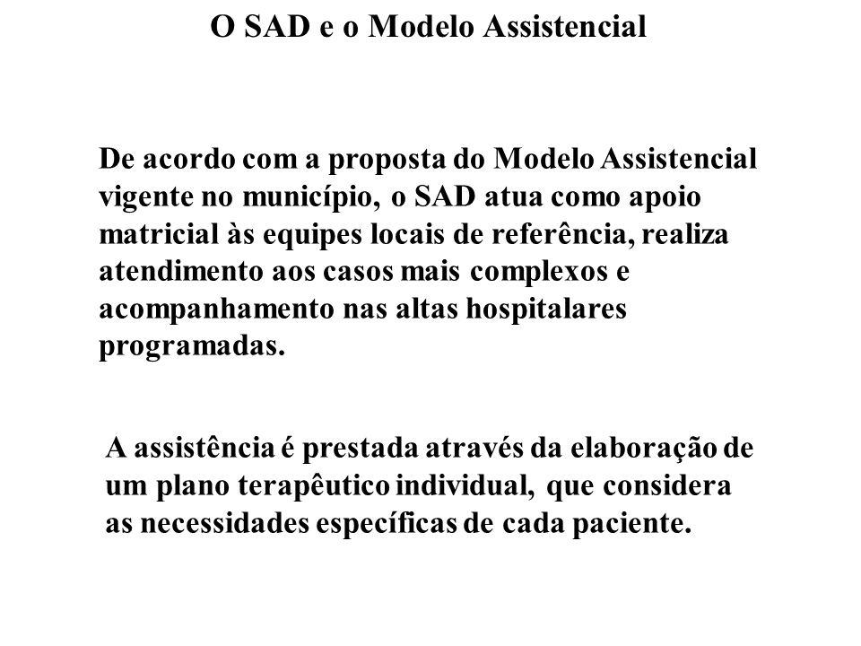 O SAD e o Modelo Assistencial De acordo com a proposta do Modelo Assistencial vigente no município, o SAD atua como apoio matricial às equipes locais