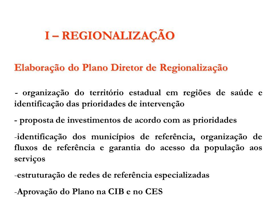 Elaboração do Plano Diretor de Regionalização - organização do território estadual em regiões de saúde e identificação das prioridades de intervenção