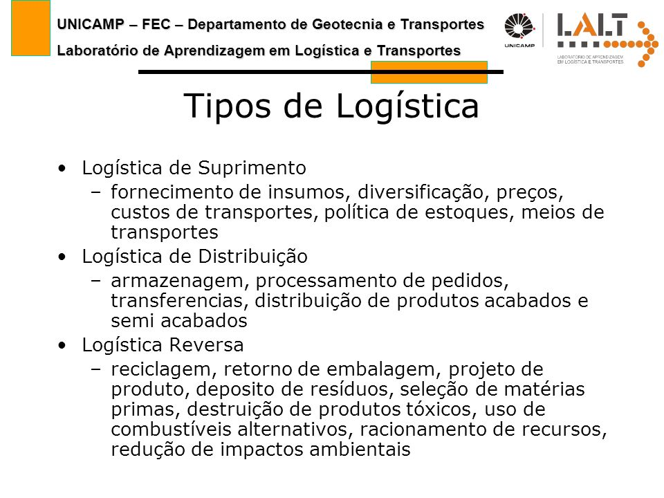 UNICAMP – FEC – Departamento de Geotecnia e Transportes Laboratório de Aprendizagem em Logística e Transportes Tipos de Logística Logística de Suprime