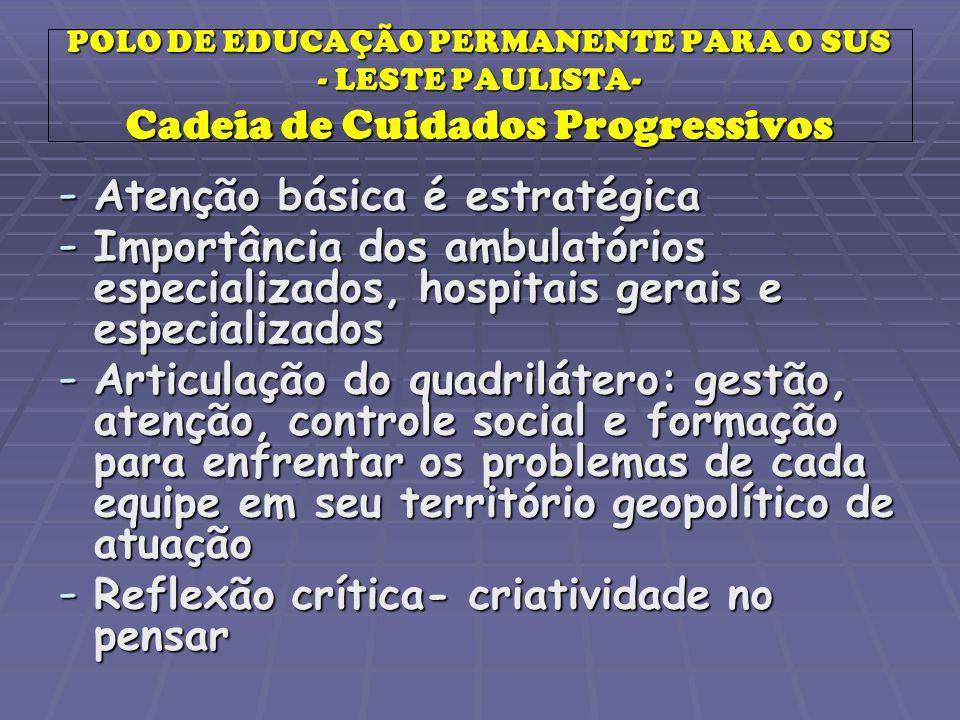 POLO DE EDUCAÇÃO PERMANENTE PARA O SUS - LESTE PAULISTA- Cadeia de Cuidados Progressivos - Atenção básica é estratégica - Importância dos ambulatórios