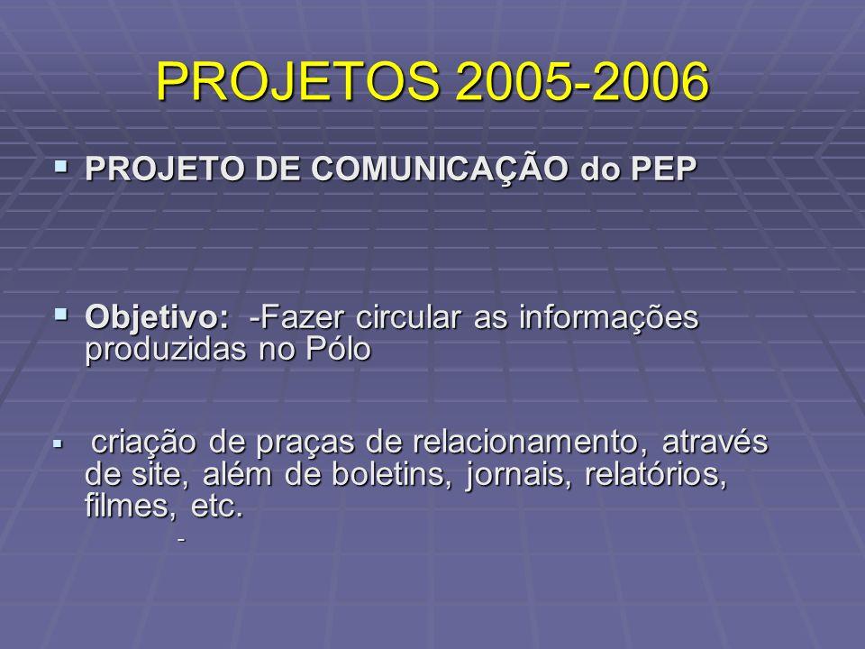 PROJETOS 2005-2006 PROJETO DE COMUNICAÇÃO do PEP PROJETO DE COMUNICAÇÃO do PEP Objetivo: -Fazer circular as informações produzidas no Pólo Objetivo: -