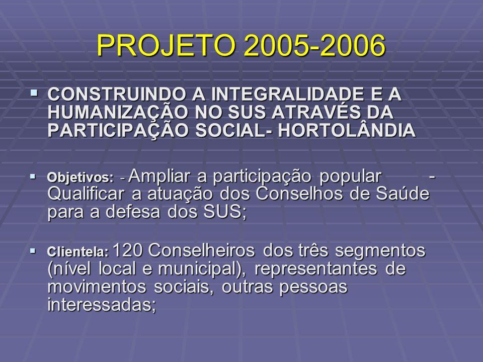 PROJETO 2005-2006 CONSTRUINDO A INTEGRALIDADE E A HUMANIZAÇÃO NO SUS ATRAVÉS DA PARTICIPAÇÃO SOCIAL- HORTOLÂNDIA CONSTRUINDO A INTEGRALIDADE E A HUMAN