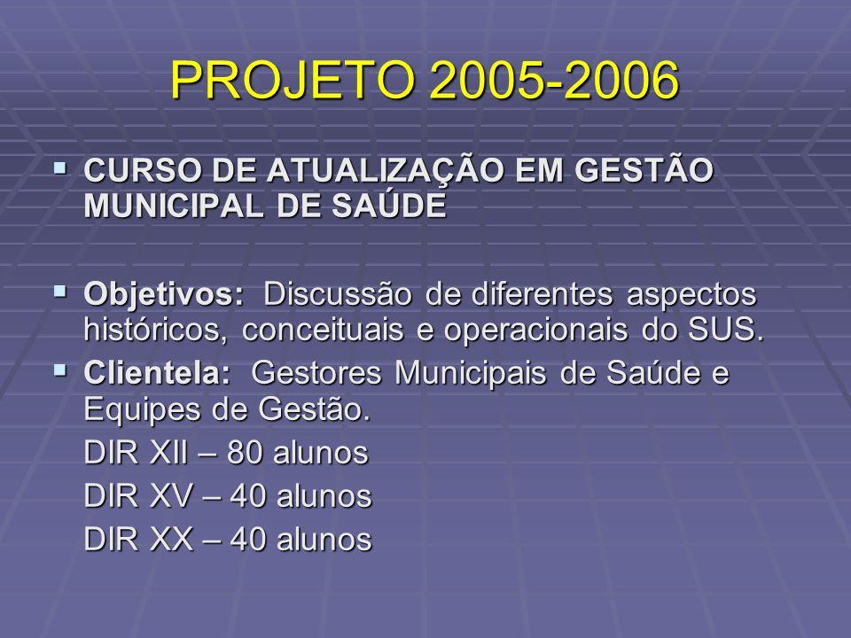 PROJETO 2005-2006 CURSO DE ATUALIZAÇÃO EM GESTÃO MUNICIPAL DE SAÚDE CURSO DE ATUALIZAÇÃO EM GESTÃO MUNICIPAL DE SAÚDE Objetivos: Discussão de diferent