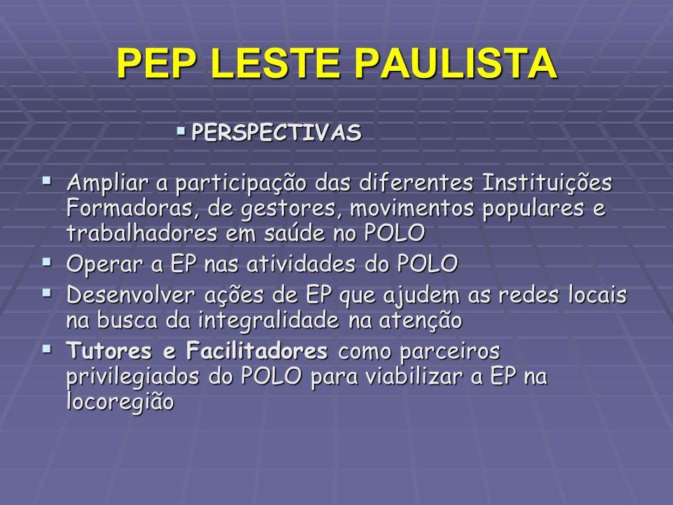PEP LESTE PAULISTA PERSPECTIVAS PERSPECTIVAS Ampliar a participação das diferentes Instituições Formadoras, de gestores, movimentos populares e trabal