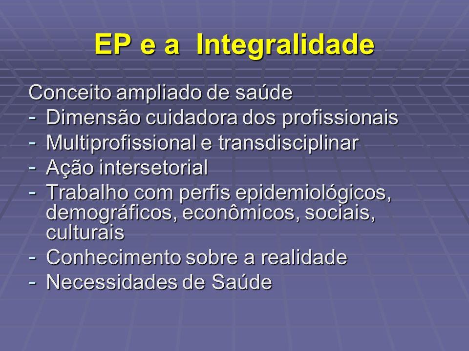 EP e a Integralidade Conceito ampliado de saúde - Dimensão cuidadora dos profissionais - Multiprofissional e transdisciplinar - Ação intersetorial - T