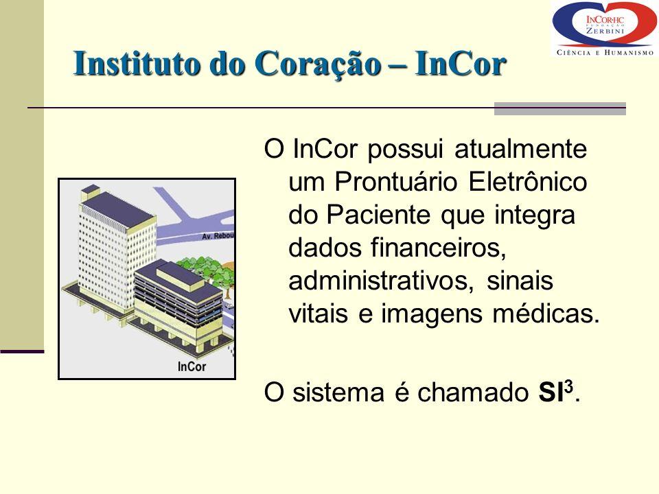 O InCor possui atualmente um Prontuário Eletrônico do Paciente que integra dados financeiros, administrativos, sinais vitais e imagens médicas. O sist