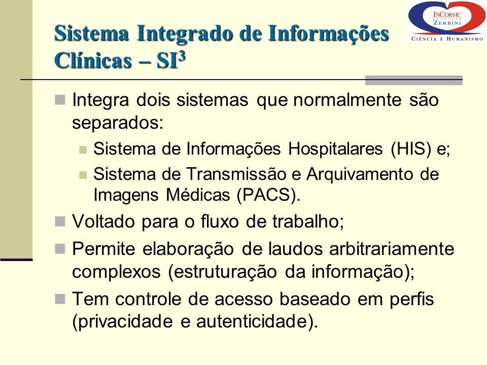 Sistema Integrado de Informações Clínicas – SI 3 Integra dois sistemas que normalmente são separados: Sistema de Informações Hospitalares (HIS) e; Sis