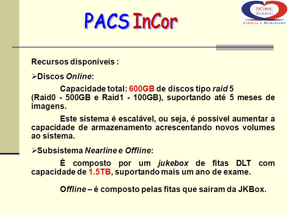 Recursos disponíveis : Discos Online: Capacidade total: 600GB de discos tipo raid 5 (Raid0 - 500GB e Raid1 - 100GB), suportando até 5 meses de imagens