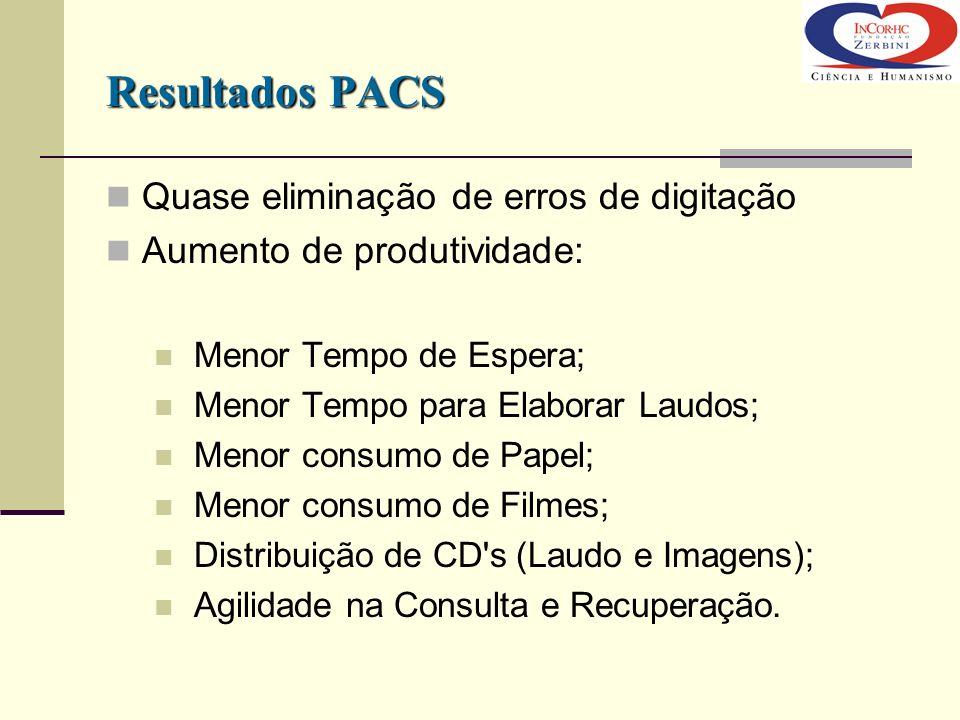 Resultados PACS Quase eliminação de erros de digitação Aumento de produtividade: Menor Tempo de Espera; Menor Tempo para Elaborar Laudos; Menor consum