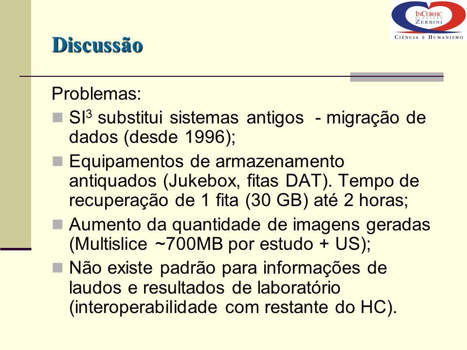 Problemas: SI 3 substitui sistemas antigos - migração de dados (desde 1996); Equipamentos de armazenamento antiquados (Jukebox, fitas DAT). Tempo de r
